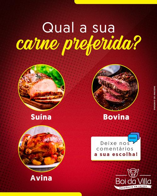 Qual o seu tipo de carne preferida?